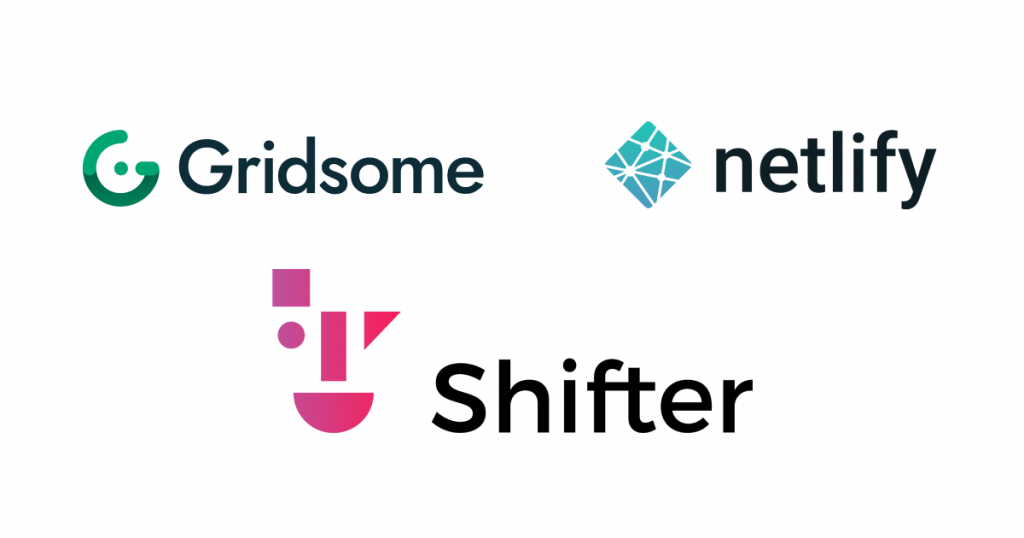 Gridsome, Netlify, Shifterのロゴ