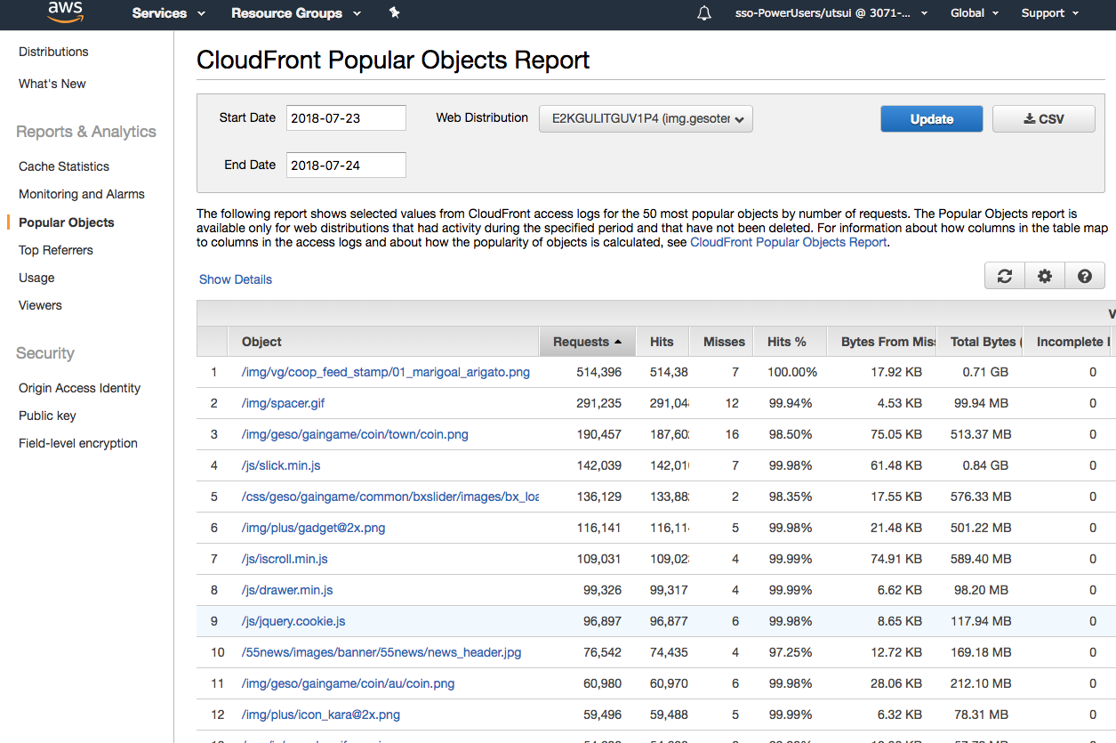 CloudFront Popular Objects Report