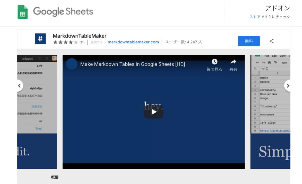 Googleスプレレッドシート マークダウン変換アドオン
