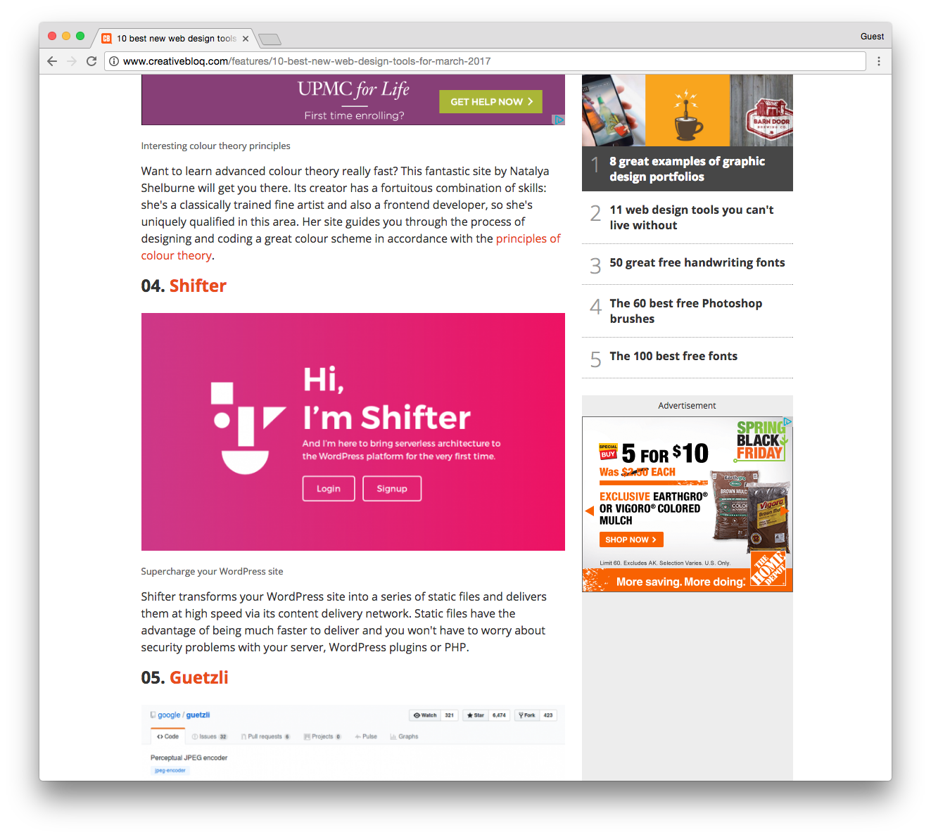 Screenshot of Shifter on Creative Bloq post