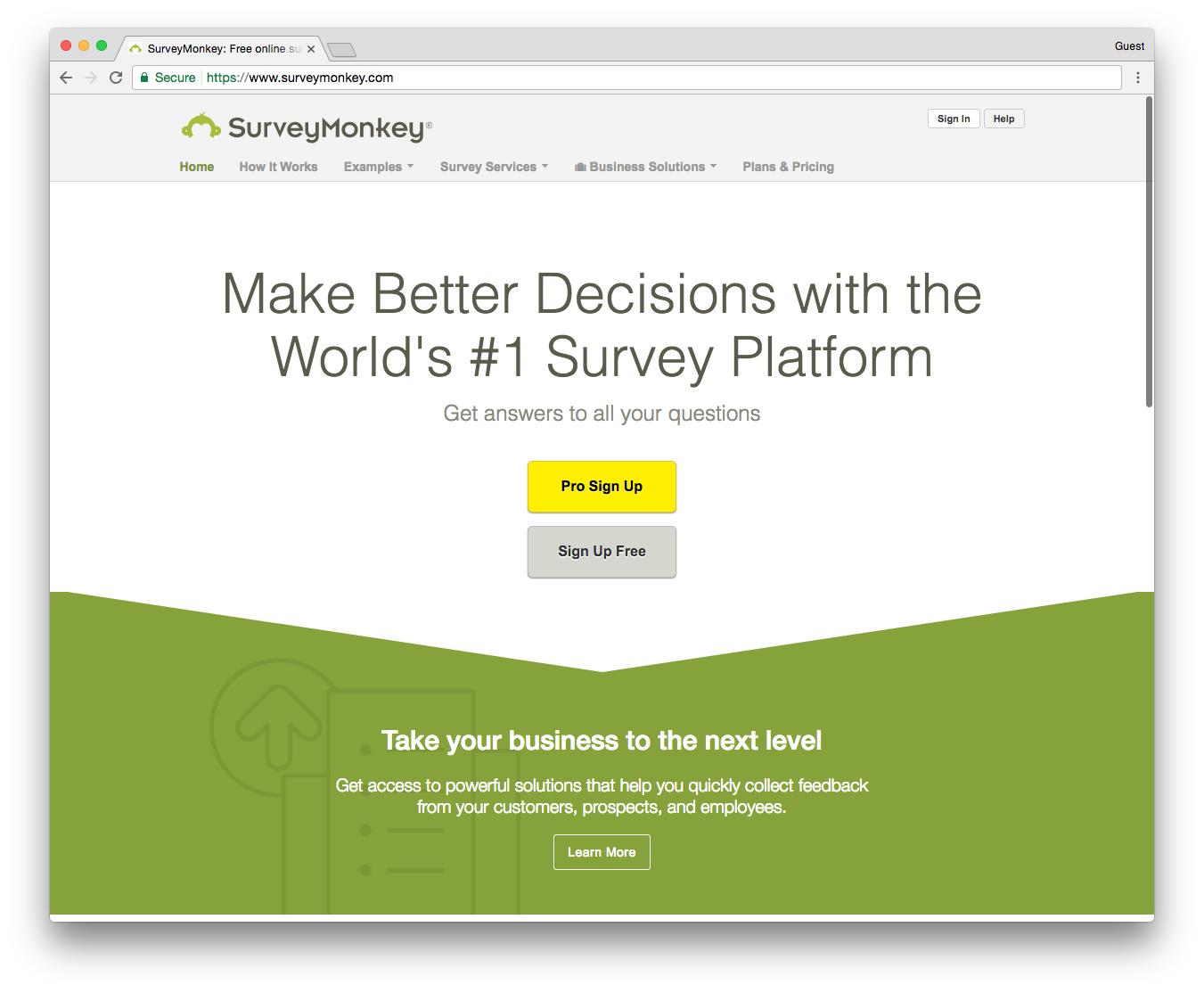 Survey Monkey Screenshot