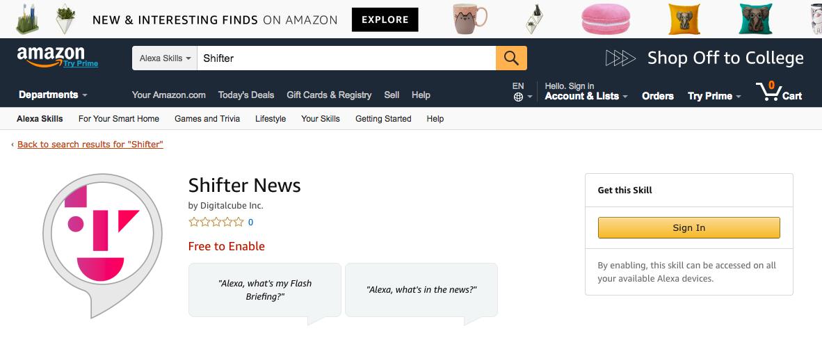 Shifter News on Alexa Skills Browsing